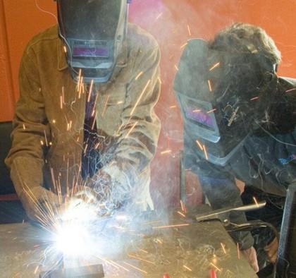 watching welding