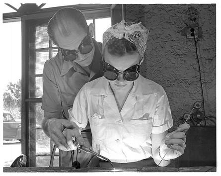 woman gas welding